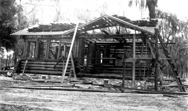 Guest cabin during construction by the CCC