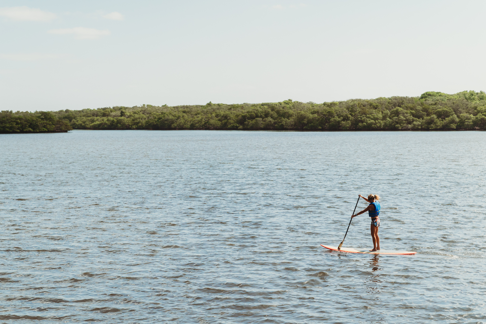Paddleboarding on the water