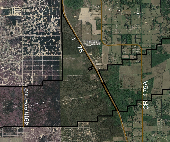 Satellite map view of the area showing the property adjacent to I-75. (Property boundary is denoted by a black line.)