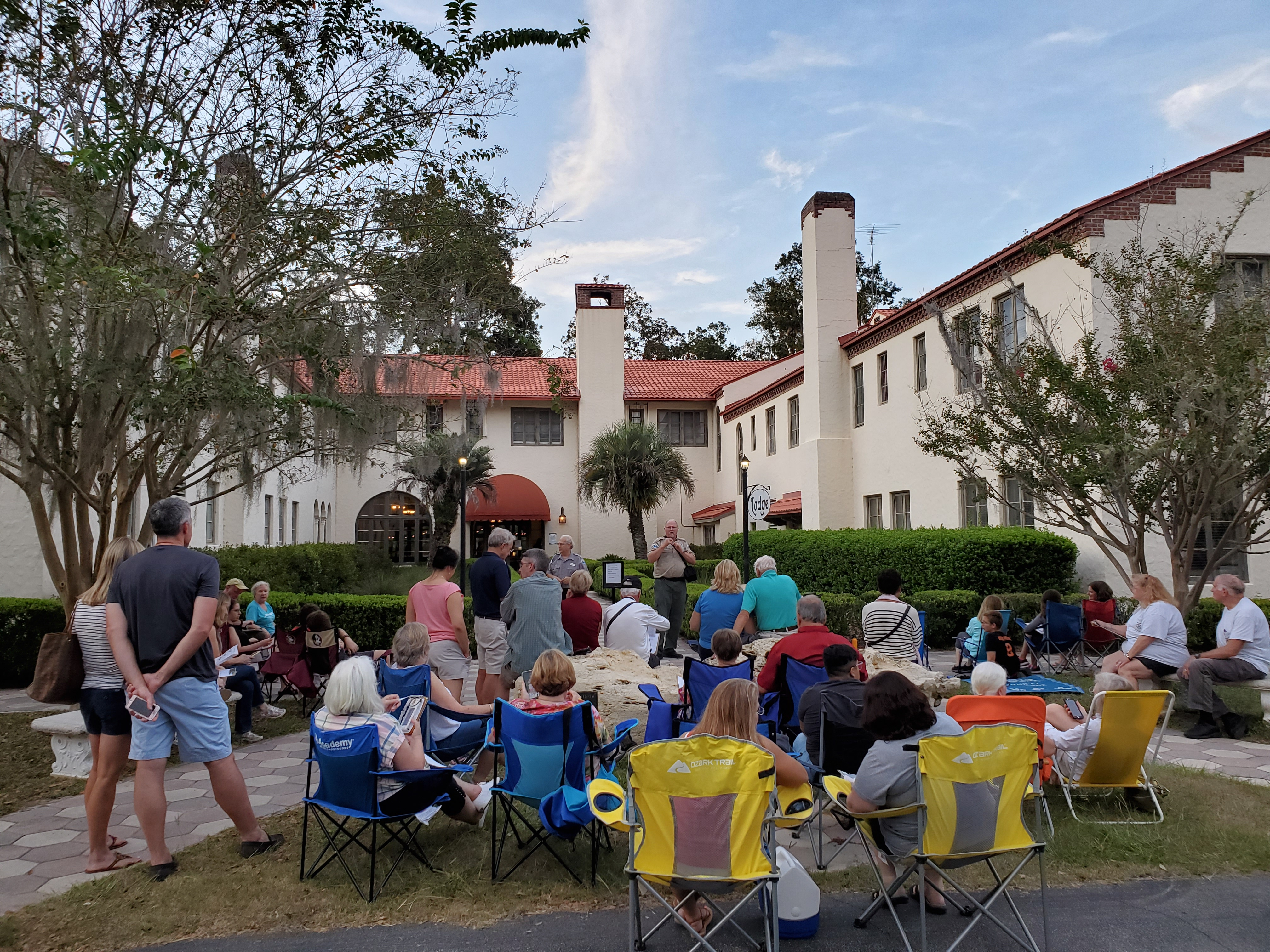 Visitors gather at the Lodge to learn about Chimney Swifts.