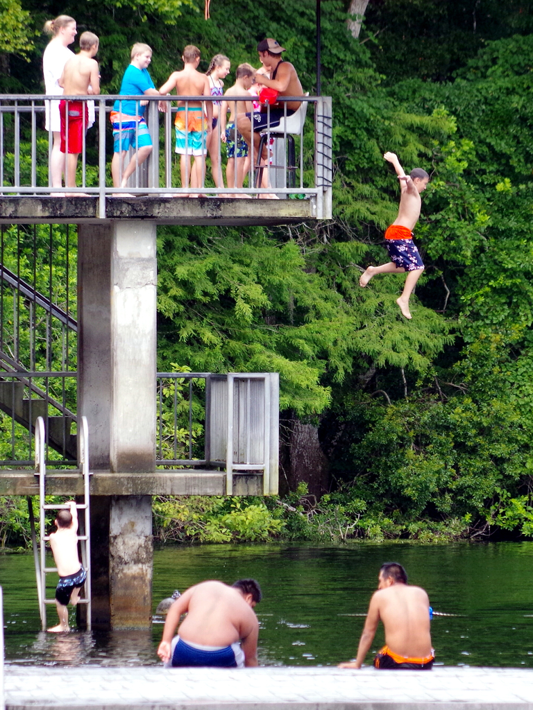 Child Jumping off the tower at Wakulla Springs