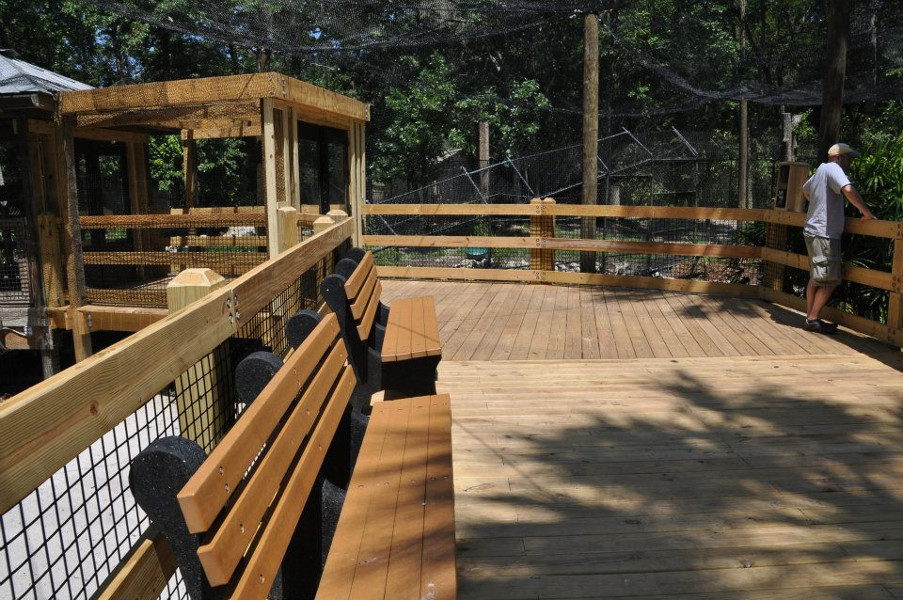 Image of the boardwalk trail with benches and exhibits at Homosassa Springs State Park
