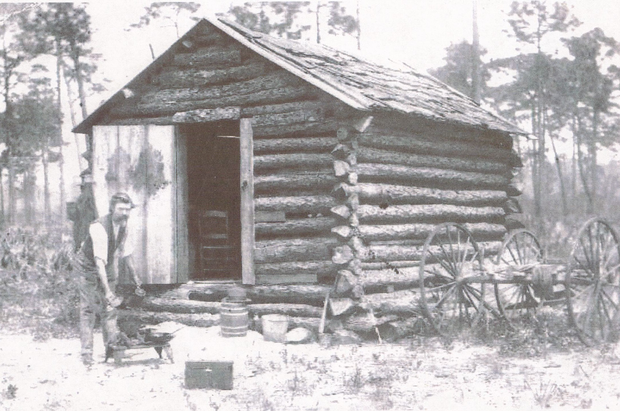 Ethel resident Finley B. Click at his cabin in the late 1800s