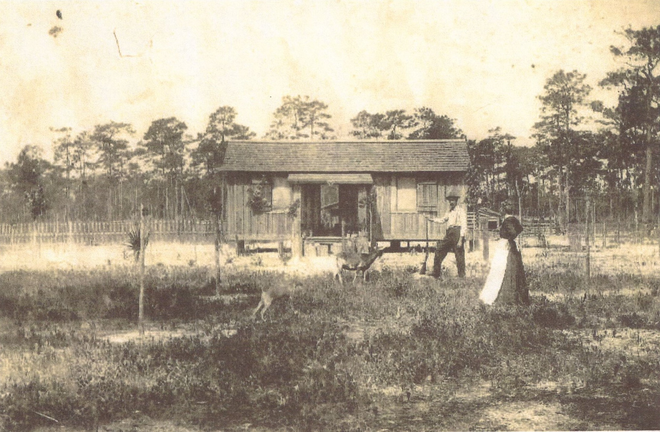 Ethel Resident Finley B. Click and wife Maggie in front of their 2nd home at Ethel 1912