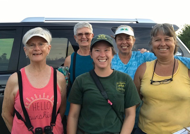 Laurie (back right) with dedicated volunteers who help with counting, trapping and banding Florida scrub-jays.