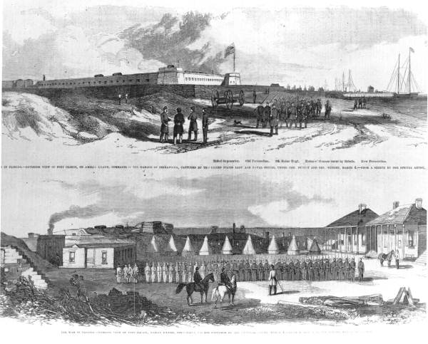 Sketch of the exterior and interior of Fort Clinch, Circa 1862