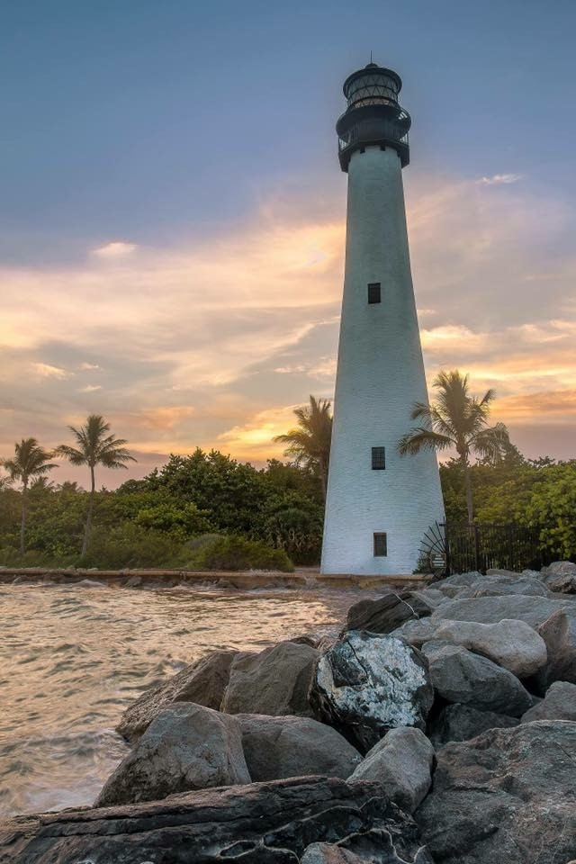 A view of the lighthouse at sunset.