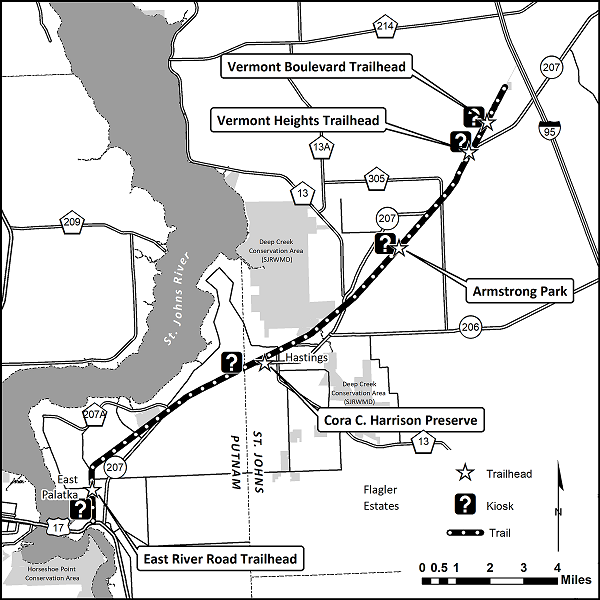 Black and white map of the Palatka to St. Augustine State Trail