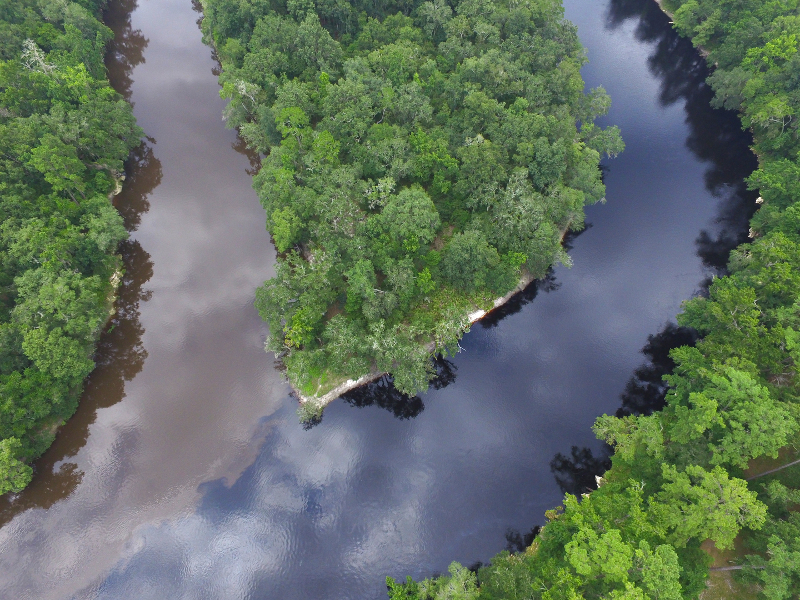 Aerial image of the Suwannee and Withlacoochee River convergence