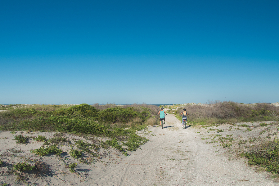 Image of two people biking the Dune Ridge Trail, surrounded by sand dunes and with a distant view of the ocean.