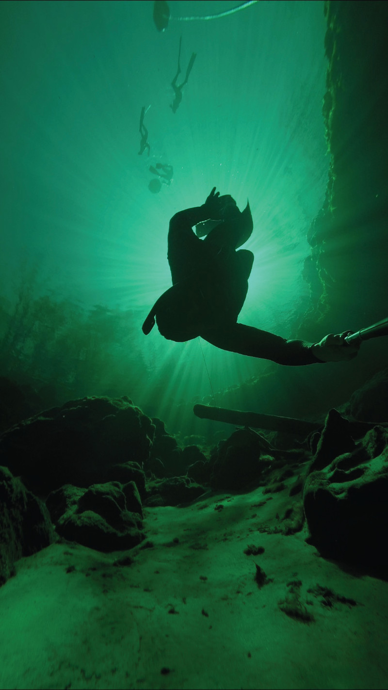 a person dives deep underneath the surface of green water