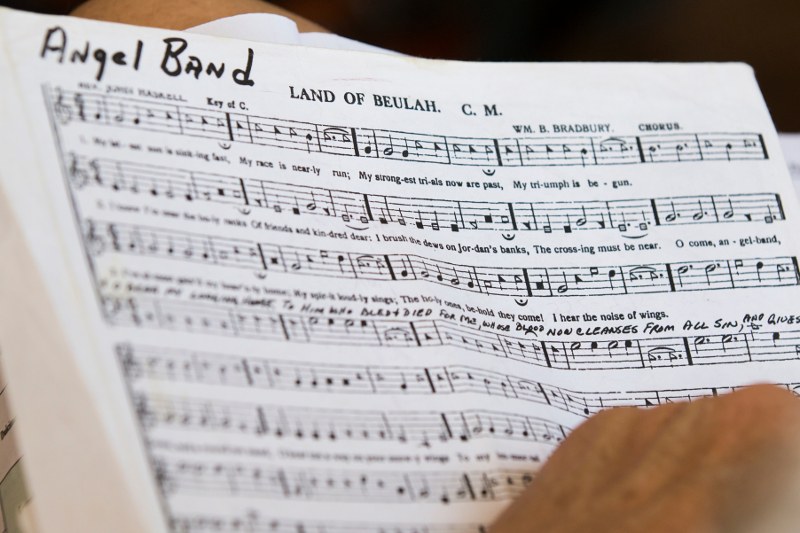 "a page of sheet music with the title ""land of beulah"""