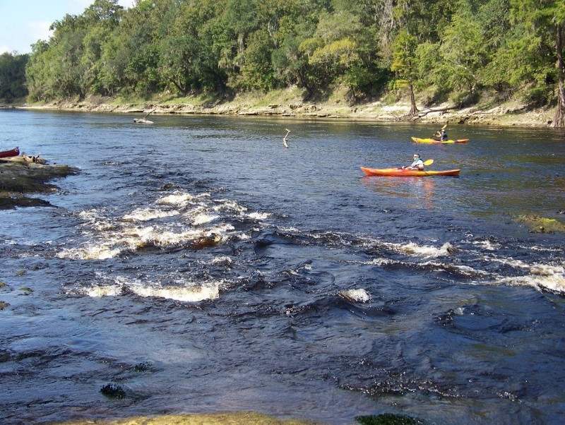 Two kayakers paddle over exposed shoals of the Suwannee River