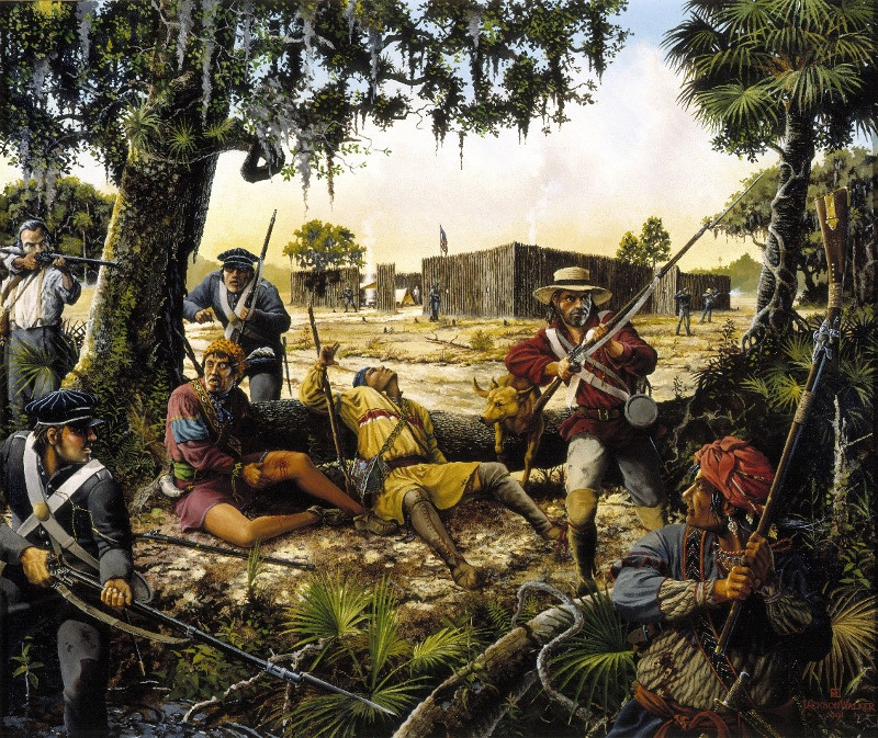 painting depicting army soldiers battling seminole warriors outside the walls of fort cooper.