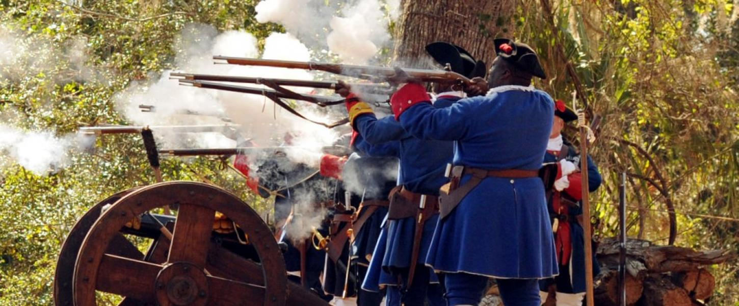 Fort Mose Militia firing their historic weapons in a demonstration