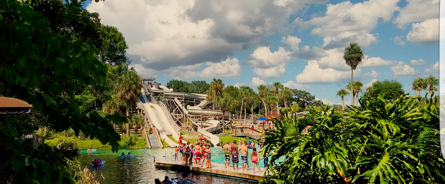A view of the water slides at Bucchaneer Bay.