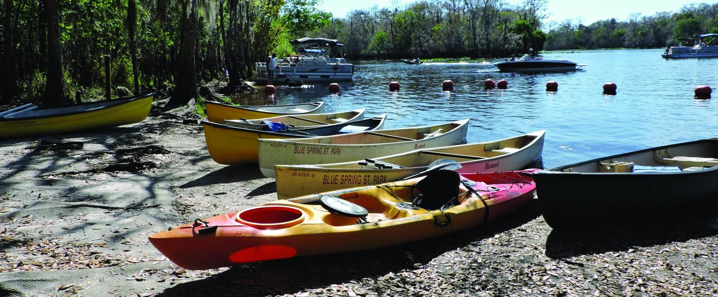 View of Kayaks and Canoes on banks of river