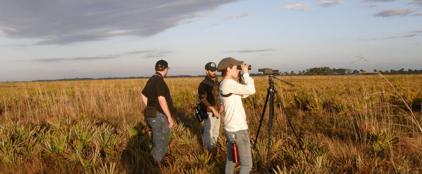 Prairie viewed by three visitors