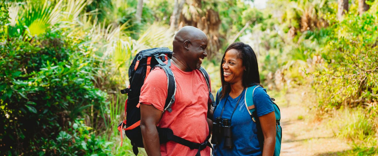 Couple Hiking at Tomoka State Park