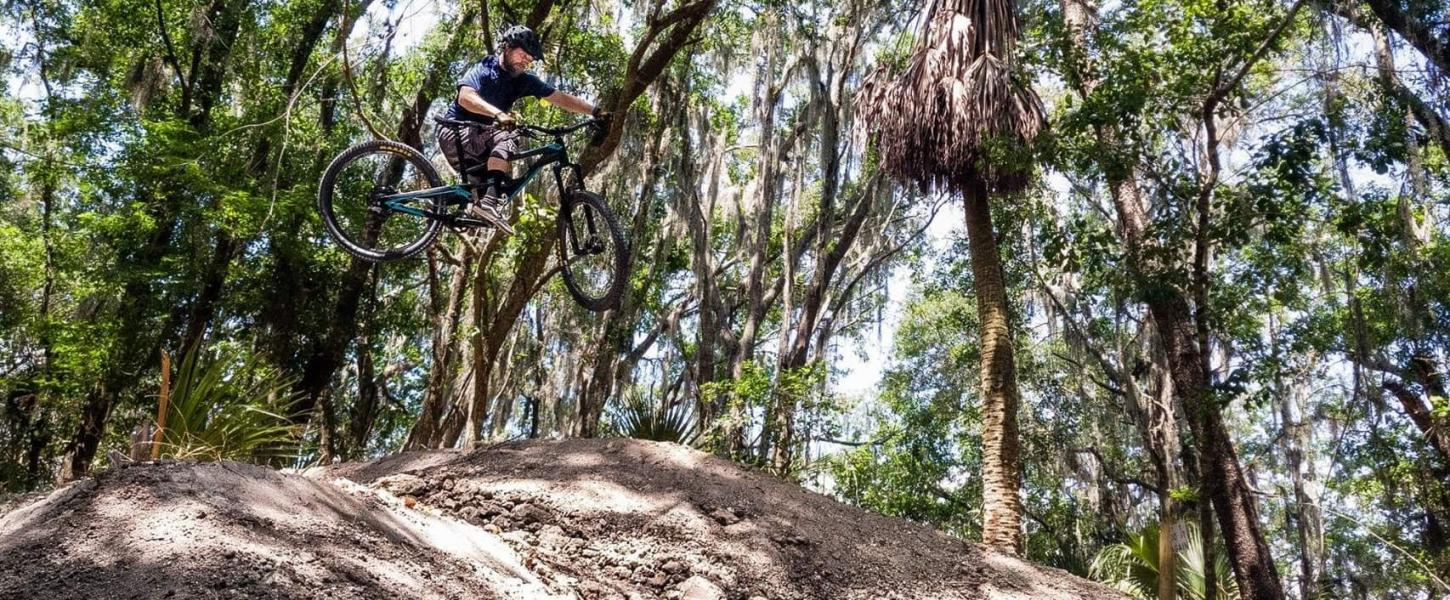 Mountain Biker on a bike track at Alafia River State Park