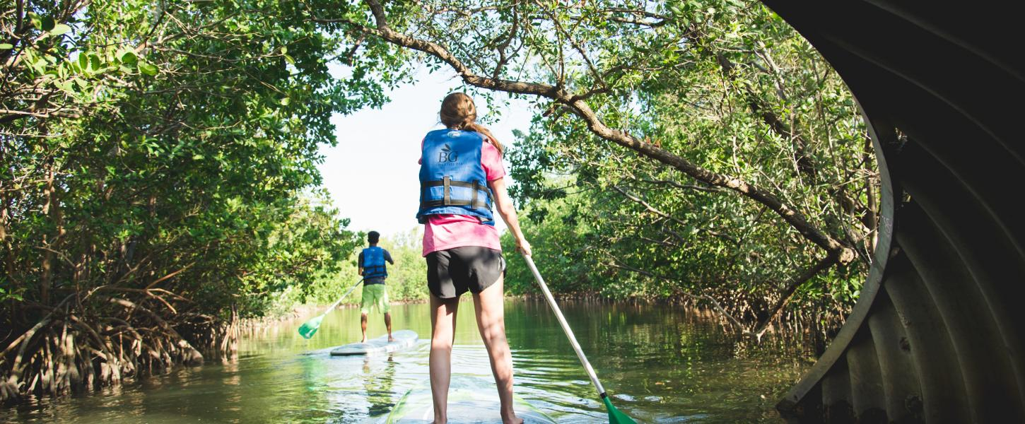 Stand up Paddleboarders paddle through Oleta River