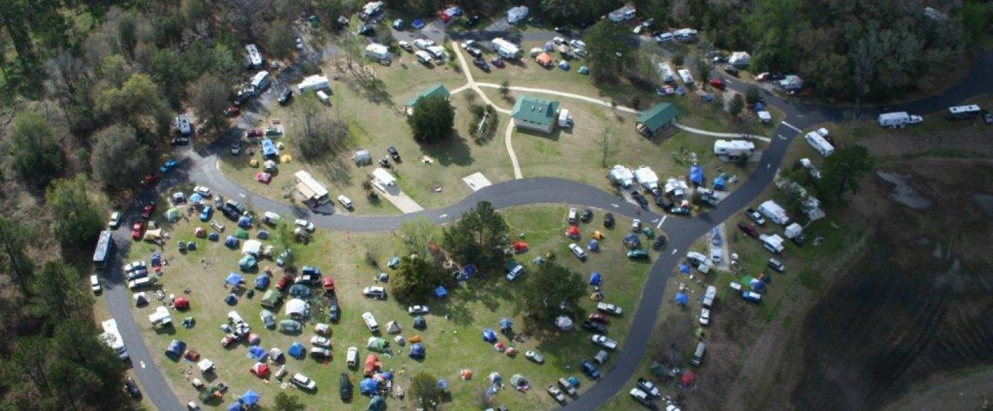 Image from above showing campground facilities