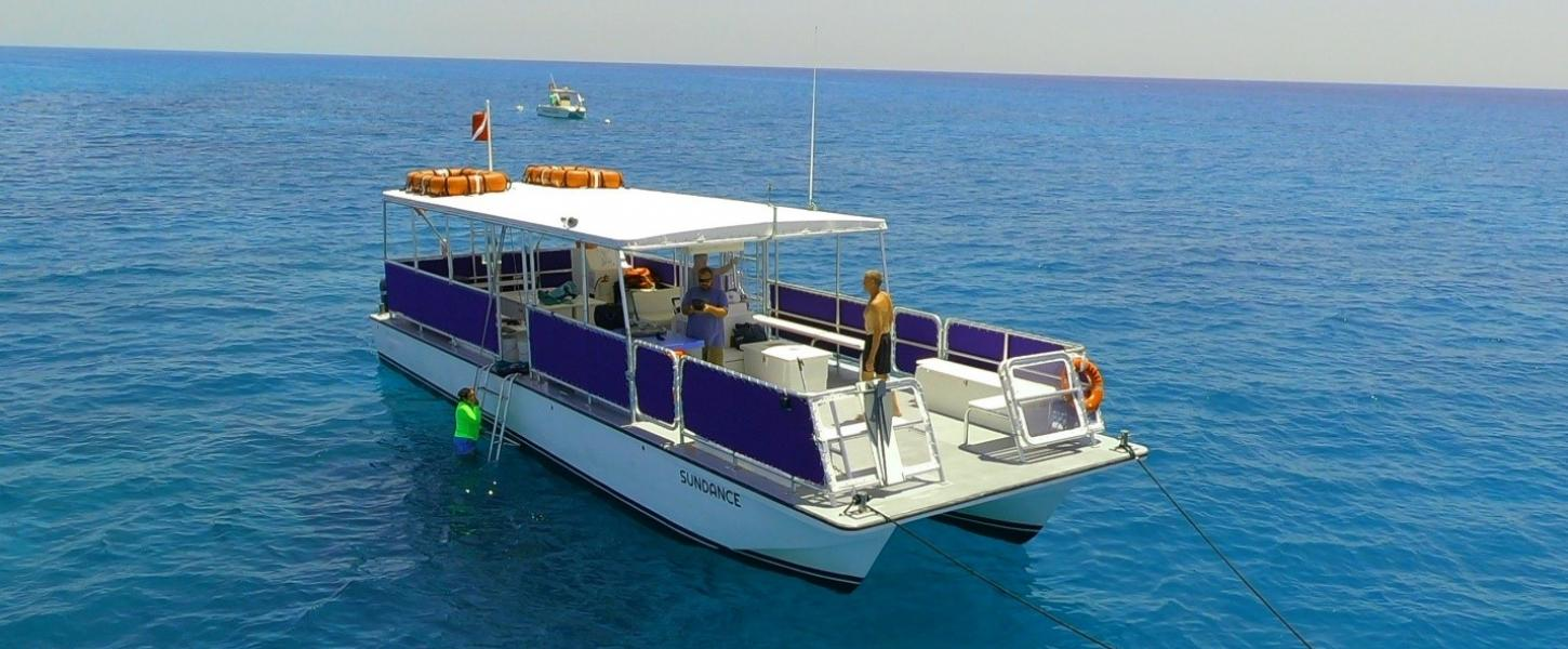 A view of the boat used for snorkeling.