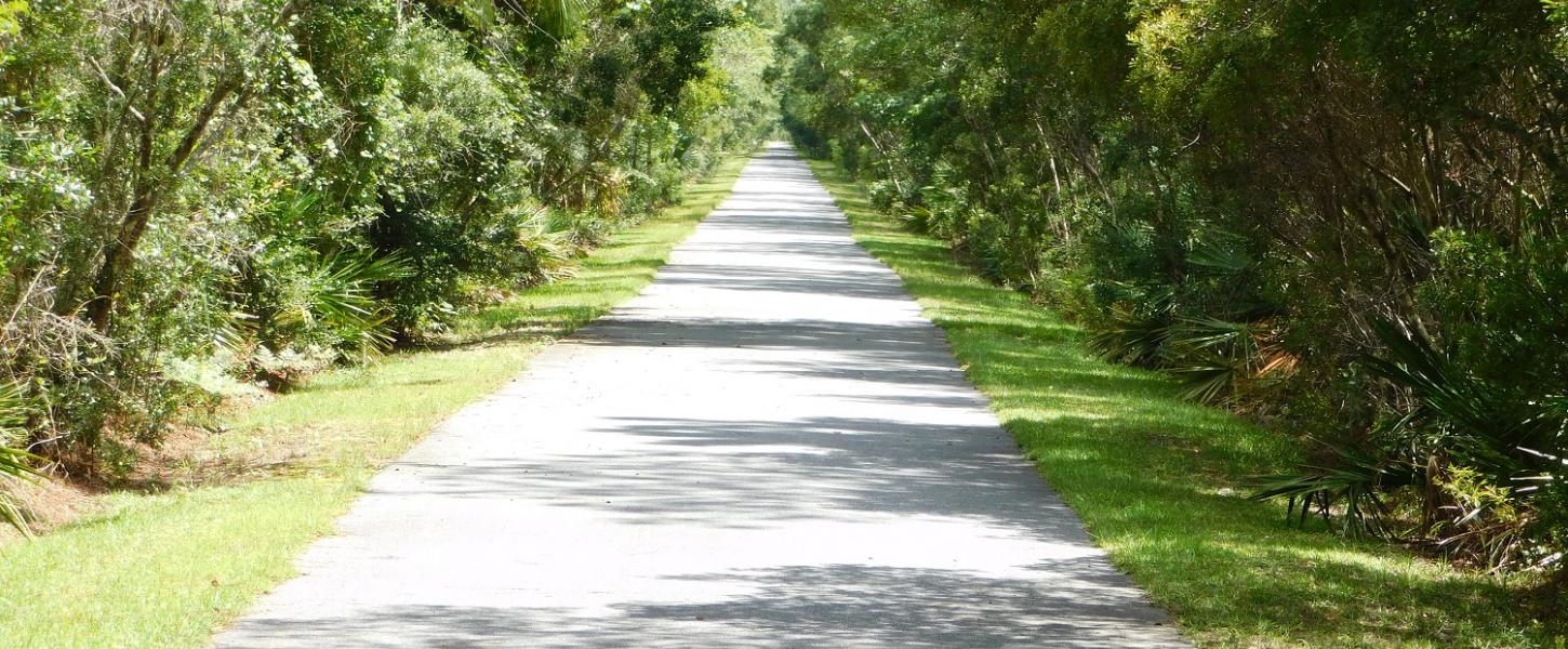 Open paved trail is bordered by lush green vegetation.