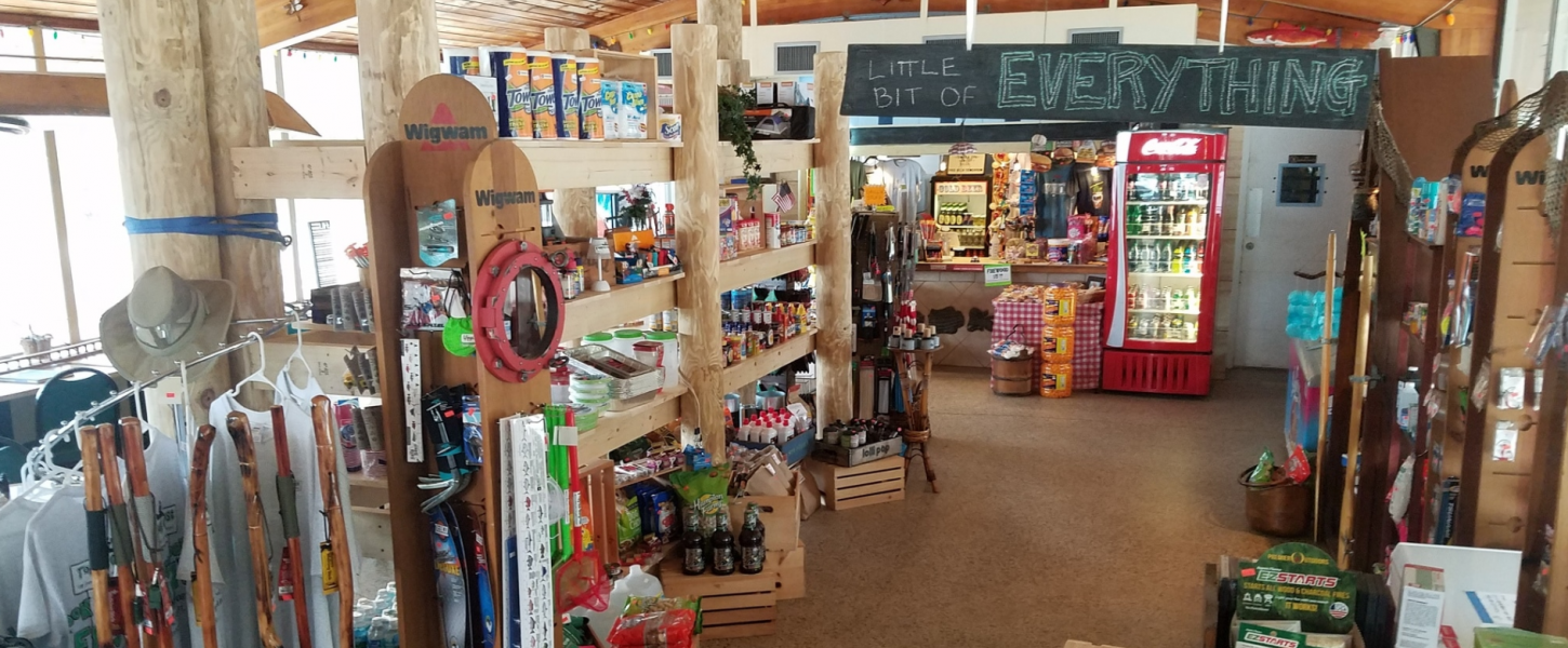 Tomoka State Park Camp Store with supplies that they sell in their store