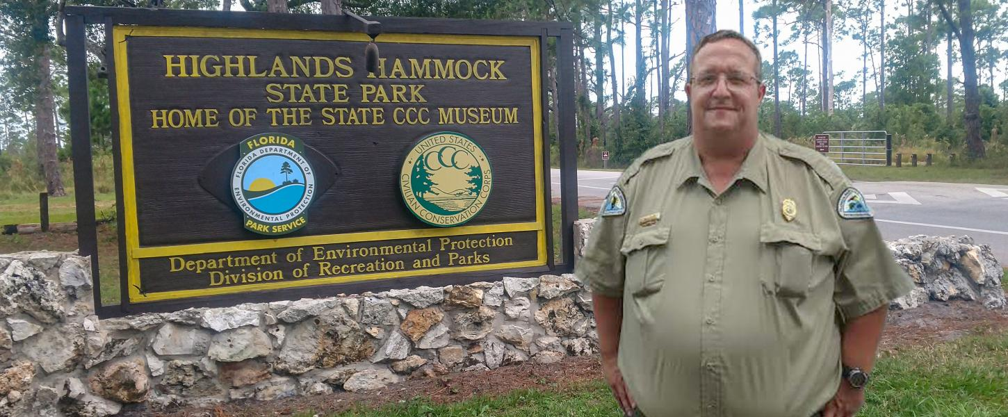 Park Manager Morgan Tyrone at HHSP Park Entrance