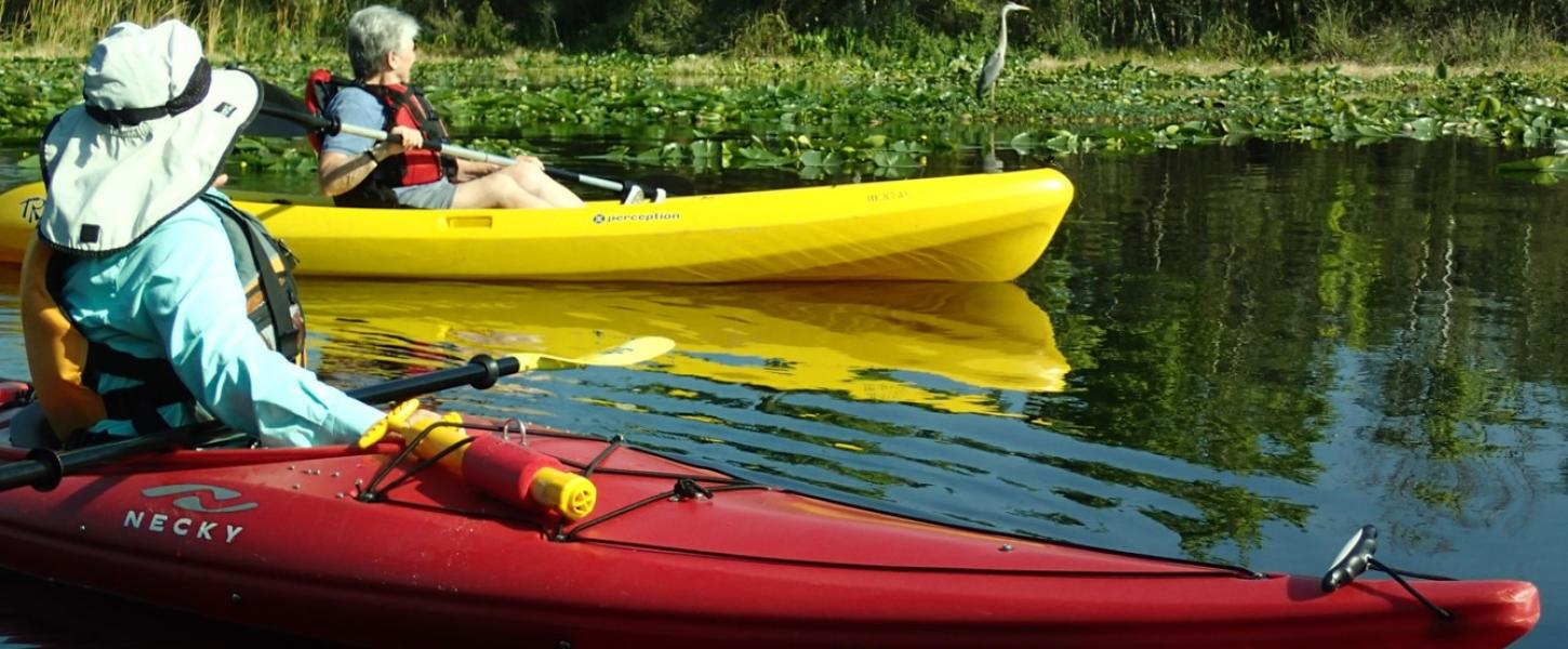 A red kayak and a yellow kayak sit on the water