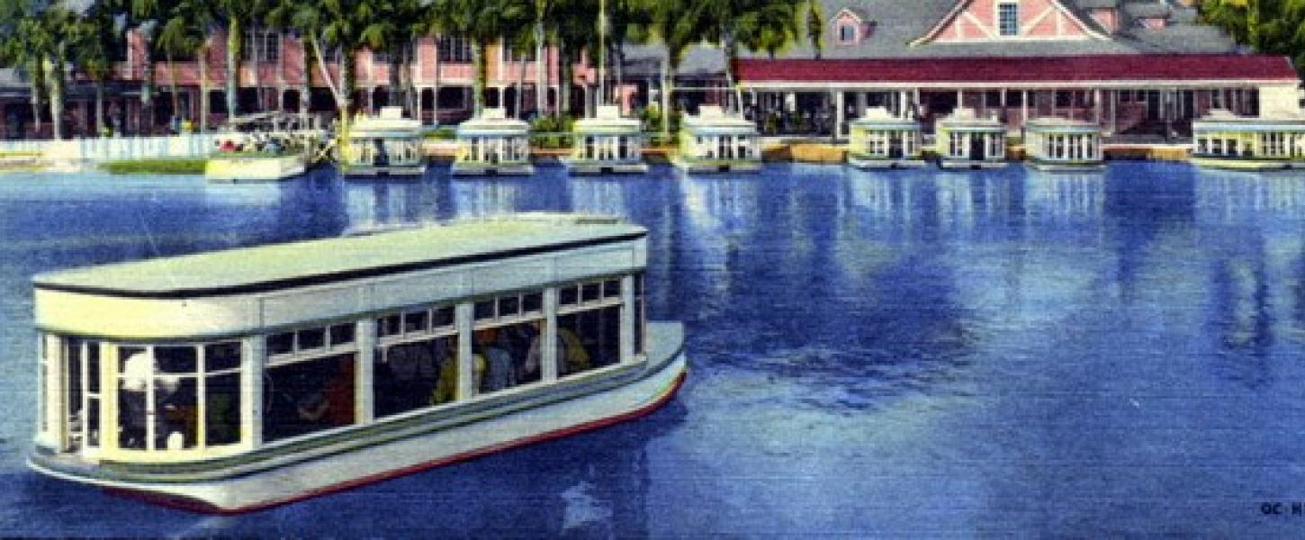 A historic postcard showing glass-bottom boats at Silver Springs. Courtesy Florida Memory.