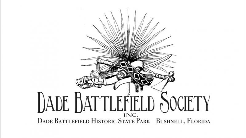 The Dade Battlefield Society logo features a musket, tomahawk and palmetto frond.
