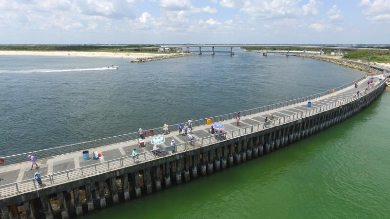 View of fishing pier at Sebastian Inlet State Park