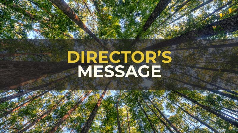 "Title reads ""Director's Message"" with trees in the background."
