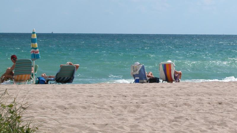A view of people sunbathing on the beach.