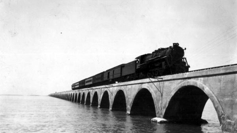 A train runs across the long key bridge