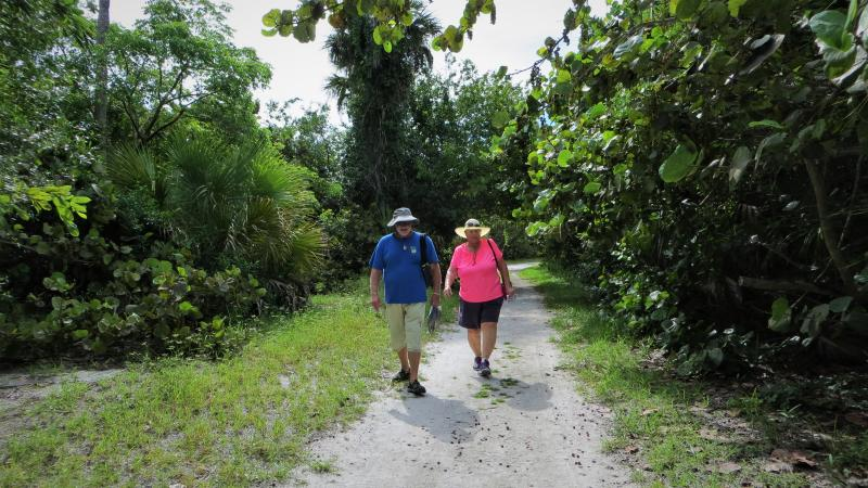 A view of two people walking along a trail.