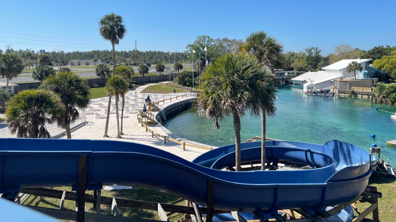 Looking down on Buccaneer Bay from the top of the Cannonball waterslide