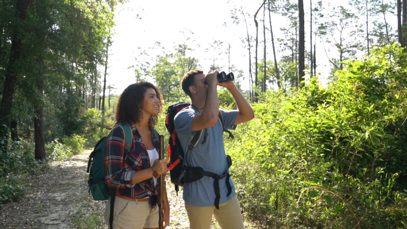 A couple in the woods, one looking through a pair of binoculars.