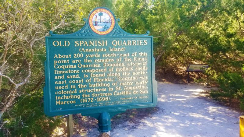 A view of the sign at the entrance way to the old Spanish quarries.