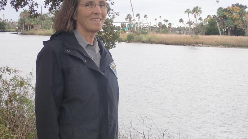 Image of buffy de matteis standing by the water in crystal river state park.