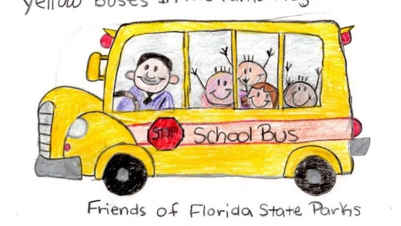 A drawing representing the Yellow bus program at Florida State Parks.