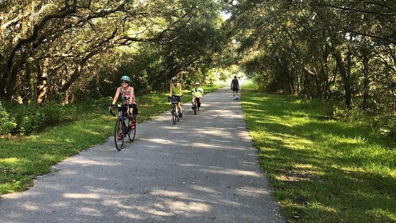 Three smiling cyclists and one walker traverse a paved path under green trees.
