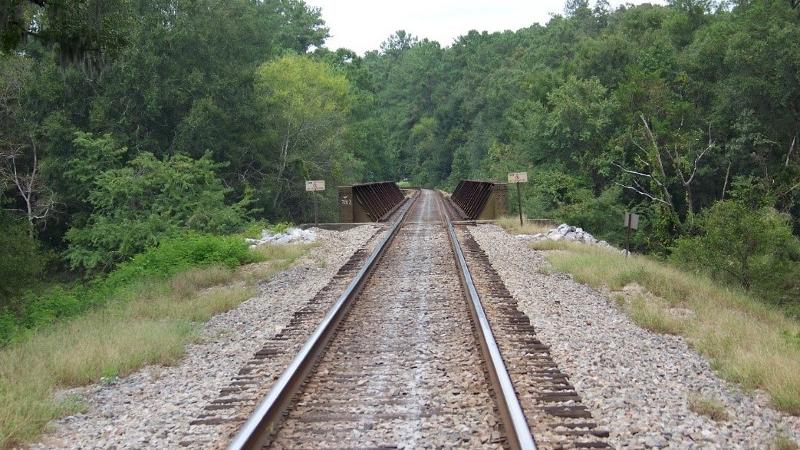 Image of railroad tracks and bridge running through Suwannee River State Park.