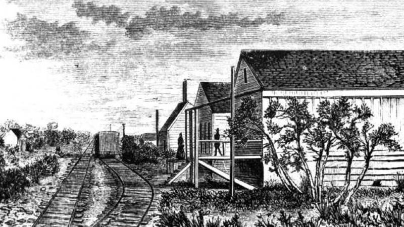 Historic black and white depiction of the historic st. marks railroad station.