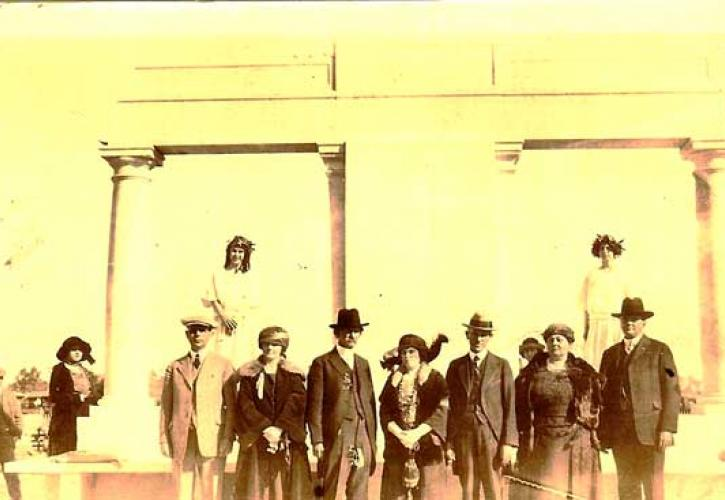Historic photo of group of people in 1923 when monument was dedicated.