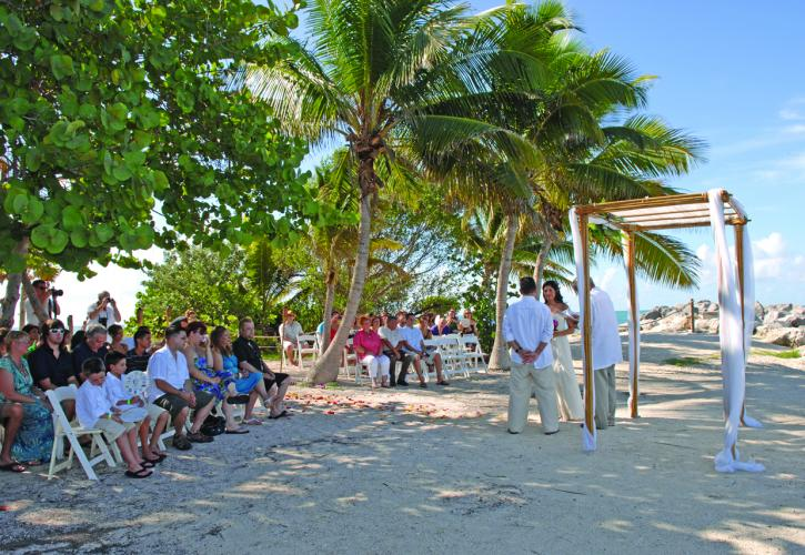 Wedding on coast of Fort Zachary Taylor