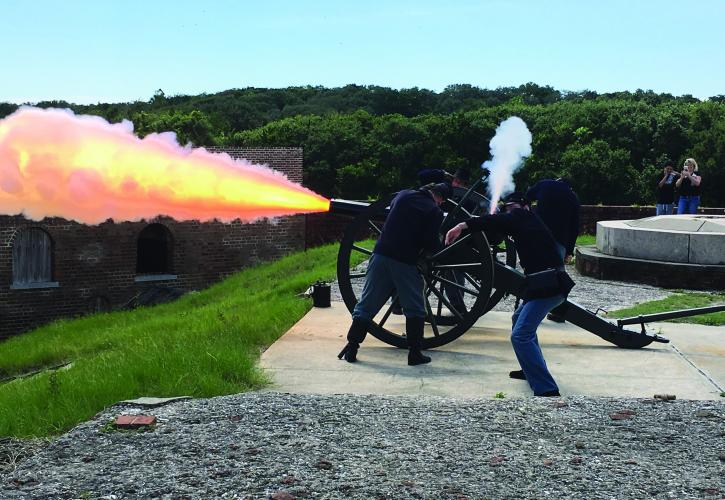 Firing Cannon at Fort Clinch