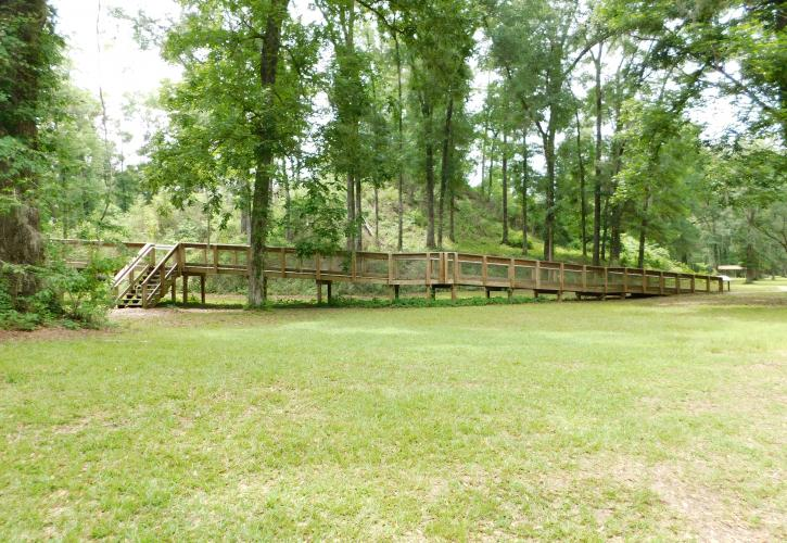 Boardwalk and Mound at Letchworth-Love Mounds Archaeological State Park